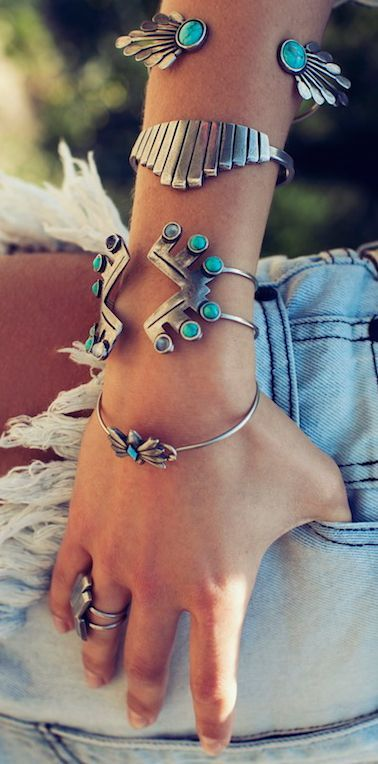 layered Turquoise cuffs stacked jewelry: