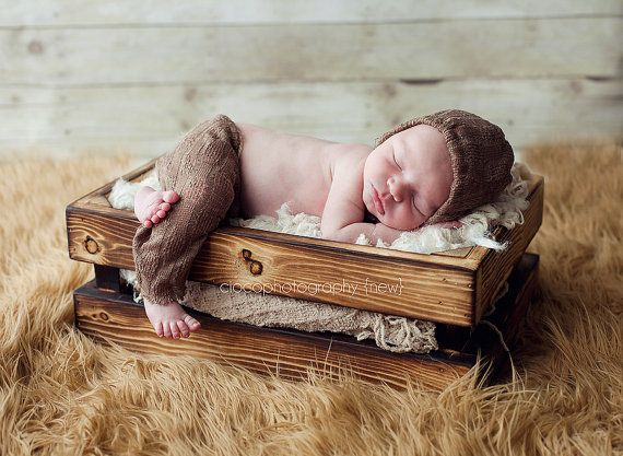 Rustic handmade wood crate newborn photography prop homedecor via etsy