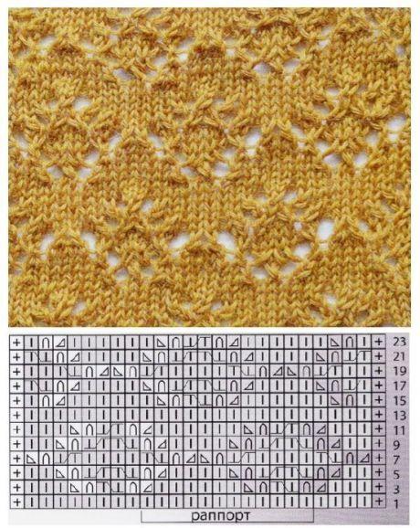 Подборка узоров со схемами для вязания на спицах