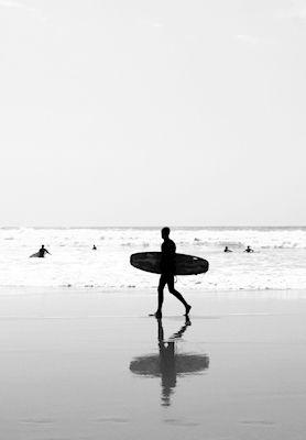 Susanne Kraft - The surfer, beach, black & white photo art, prints & posters
