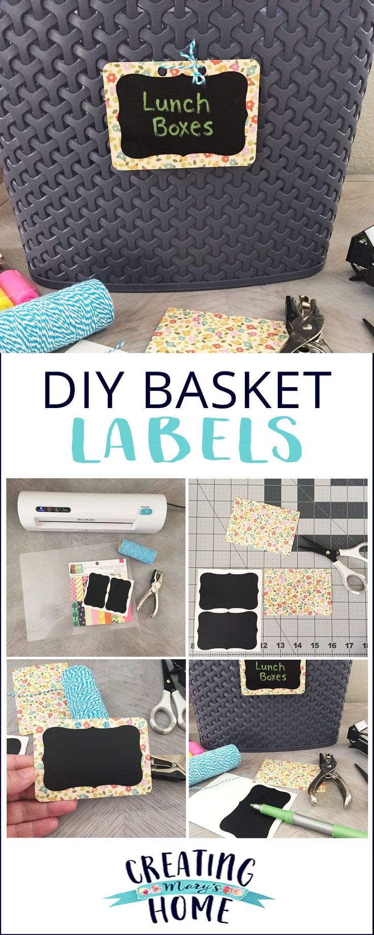 DIY Basket Label for your Pantry or Anywhere - creatingmaryshome.com