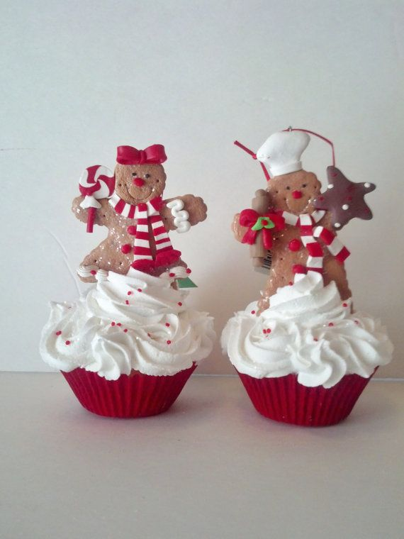 Two Gingerbread Men Fake Cupcake Christmas Ornaments, Girl and Boy Gingerbread Cupcake Photo Props, Tree Decorations and Accents