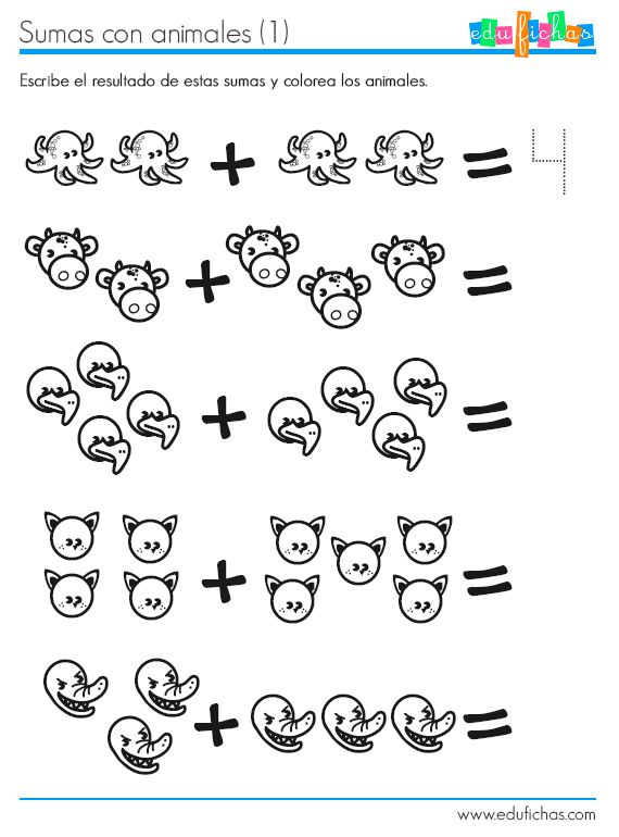 Ficha para aprender a sumar con dibujos de animales. http://www.edufichas.com/actividades/matematicas/sumas/ficha-para-aprender-a-sumar/ #fichas #edufichas #sumar
