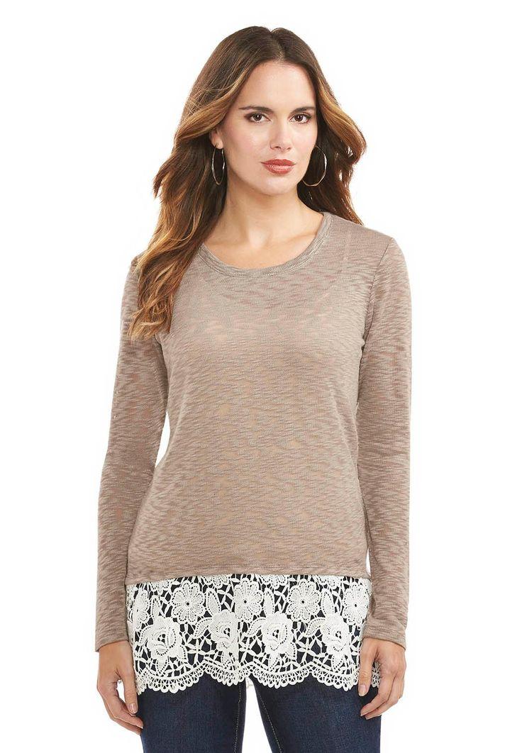 Crochet Lace Hem Top Plus Tops Cato Fashions