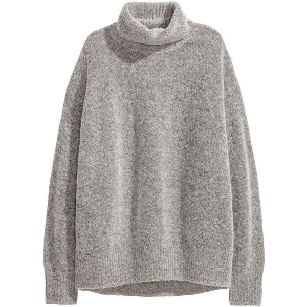 Mohair-blend Turtleneck $59.99 (79 CAD) ❤ liked on Polyvore featuring tops, sweaters, h&m, clothing - ls tops, jumper, grey turtleneck, turtle neck jumper, turtleneck tops, grey turtleneck sweaters and turtleneck sweater