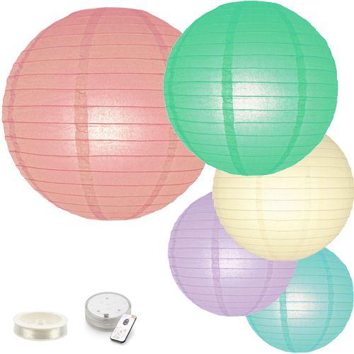 Lampion pakket pastel + LED Prof. met afstandb.