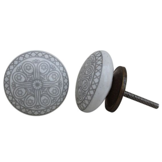Set of 6+ Grey Wheel Flat Cabinet Door Knob Handle Dresser Pull Handmade Indian Decorative in Silver/Antique/Golden Finish