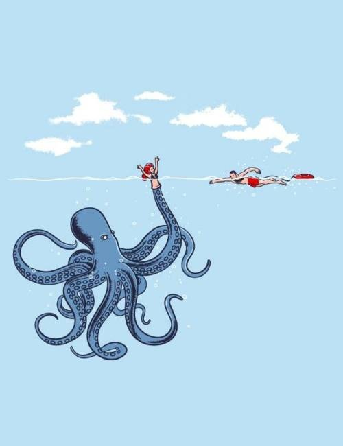 The Puppet Monster.: Funny Things, Art, Balcony Ideas, Funny Animal, Funny Illustration, Octopuses