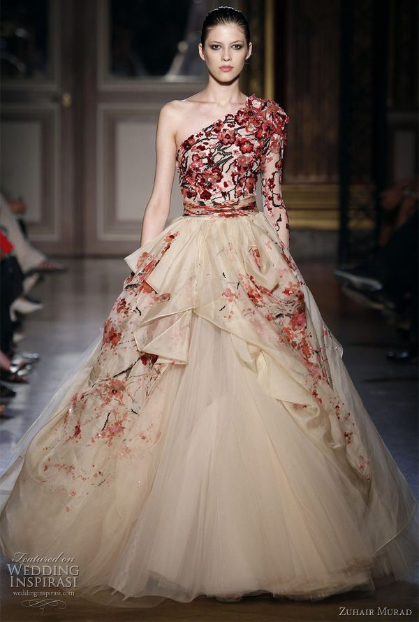 Zuhair Murad Fall/Winter 2011-2012 couture collection was inspired by the Chinese Empress Wu Zetian. One-shoulder ball gown with cherry blossom embroidery.