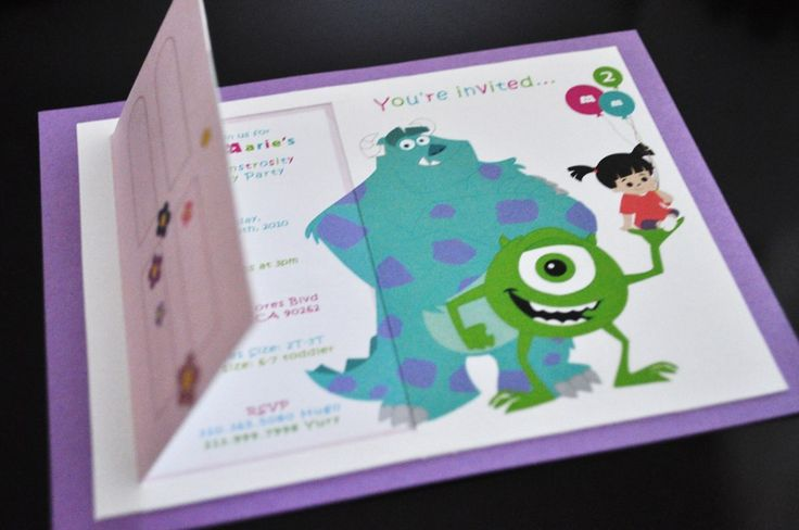 Monsters Inc Inspired Invitations. $3.00, via Etsy.