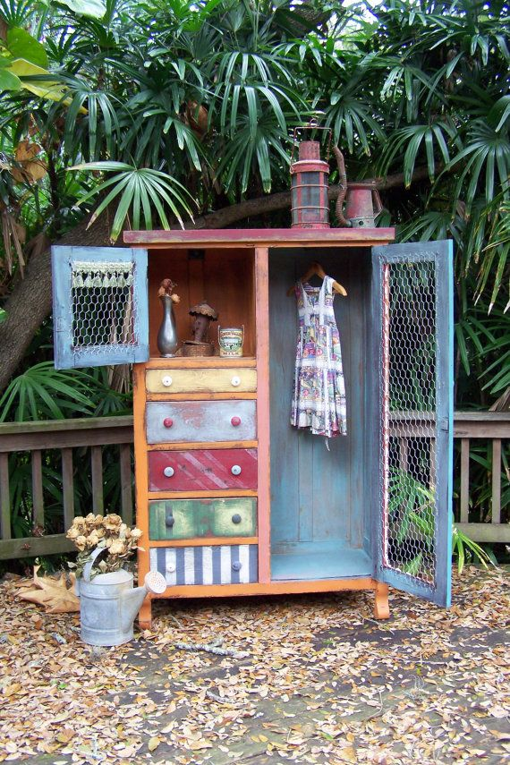 Calliope Vintage Wardrobe--enhanced this with chalk paint, wax, chicken wire, and a few other fun embellishments