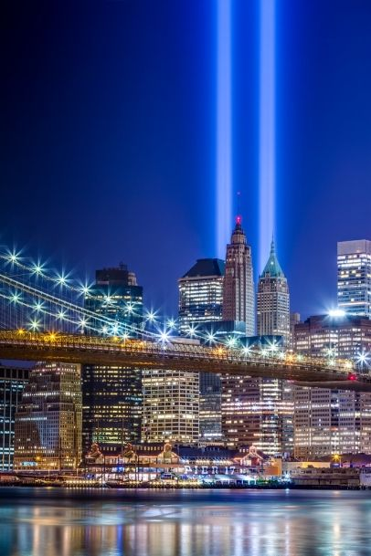911 memorial was subtle and haunting as we drove over GWB.  Wisps of autumn mist swirled through the beams, drifting to the heavens.  No towers built by men will match their ethereal power.  Never forget, never forget, never forget...