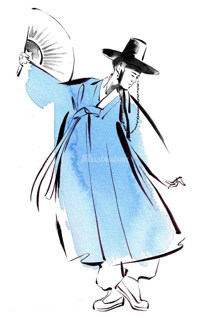 캐서린 아셀로 두루마기 한복 그림