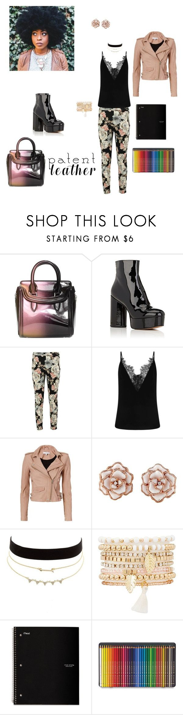 """Style of the Day: Patent Leather"" by mya-zari ❤ liked on Polyvore featuring Alexander McQueen, Marc Jacobs, Boohoo, IRO, Charlotte Russe and Faber-Castell"