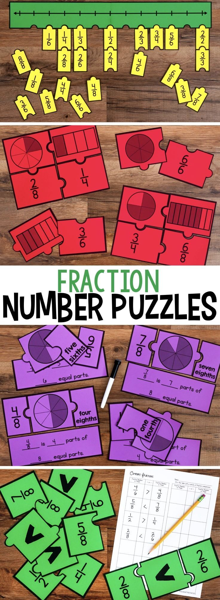 Engage students with a variety of Fraction Number Puzzles that provide practice with equivalent fractions, comparing fractions, and placing fractions on a number line. These are great for math stations or math centers. #fractions