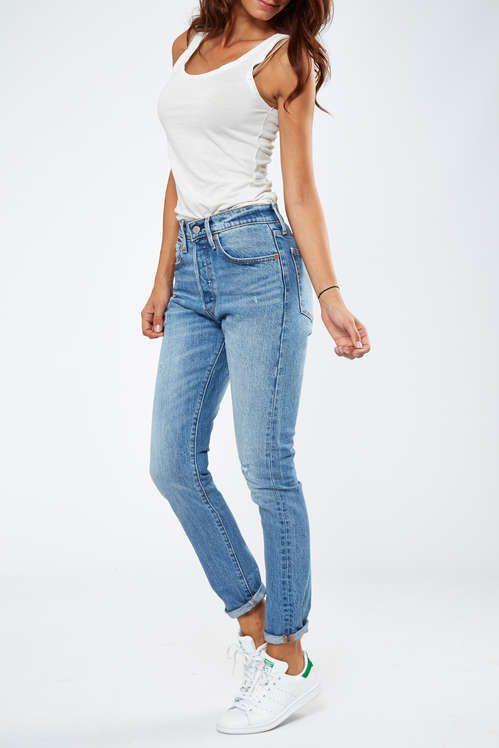 396c880a64dad Jeans Levi's 501 Skinny Fit Bleu Used Destroy Femme en 2019 | My ...