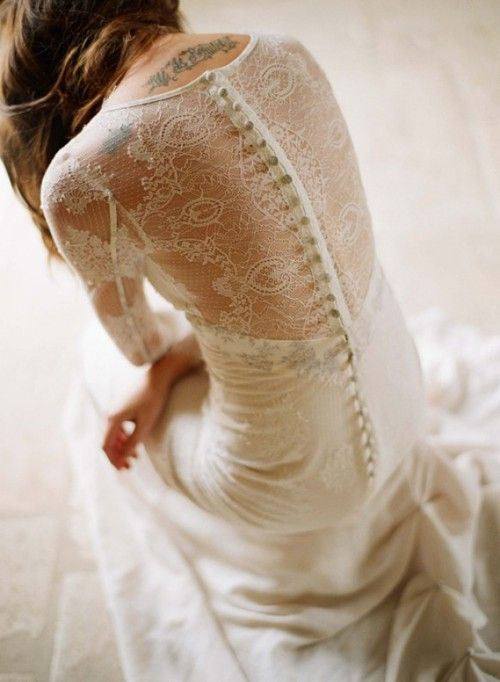 Long Sleeved Lace Back Button Wedding Dress