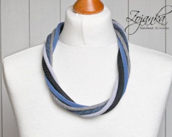 Collana di nautica, tessile collana, collana di tessuto, gioielli di stoffa, idee regalo moda, Accessori nautici, moda