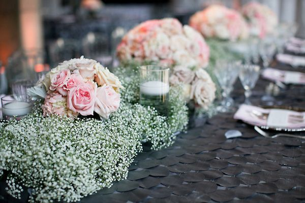 Baby's breath and pink roses table runner by Holly Heider Chapple Flowers/Peter Bang Photography