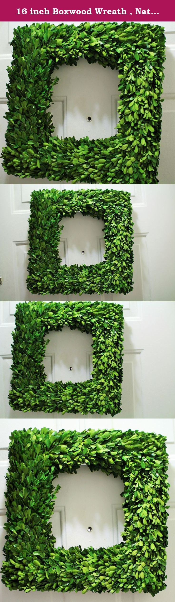 16 inch Boxwood Wreath , Natural Dried Boxwood Wreath ,Square Wreath ,Table Wreath , Mirror Wreath , Spring Wreath, Summer Wreath. Boxwood Wreath-This adorable Square Boxwood Wreath is sure to add divine beauty to your door. This beautiful single sided boxwood wreath measures at about 16 inches in height. This boxwood wreath is made with a grapevine frame ,foam ,preserved boxwood , glue and will need a door hanger.Preseved boxwood has been dyed and treated . Please handle with care I…
