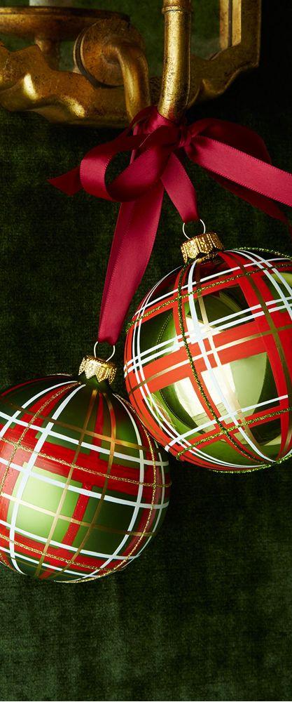 Glossy Green Plaid Ornaments...Fabulous...