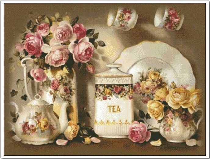 Free Shipping     Luxurious Classical     Top Grade  Rose Teapot Flower Oil Painting     Counted Cross Stitch-in Crafts from Home & Garden o...