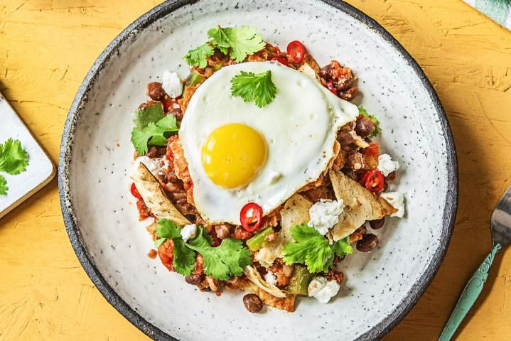 Breakfast Champion's Chilaquiles with Black Beans, Eggs, and Poblano Chili