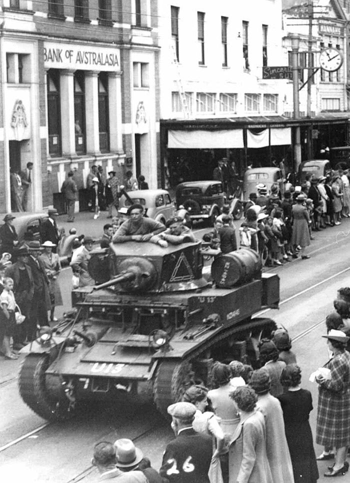 New Zealand M-3 'Hybrid Stuart' Light Tank - Before their departure from Wanganui in January 1943 Queen Alexandra's Mounted Rifles (Armoured) took part in a parade down the main street where they were photographed by the enthusiastic owner of Tesla Studios.