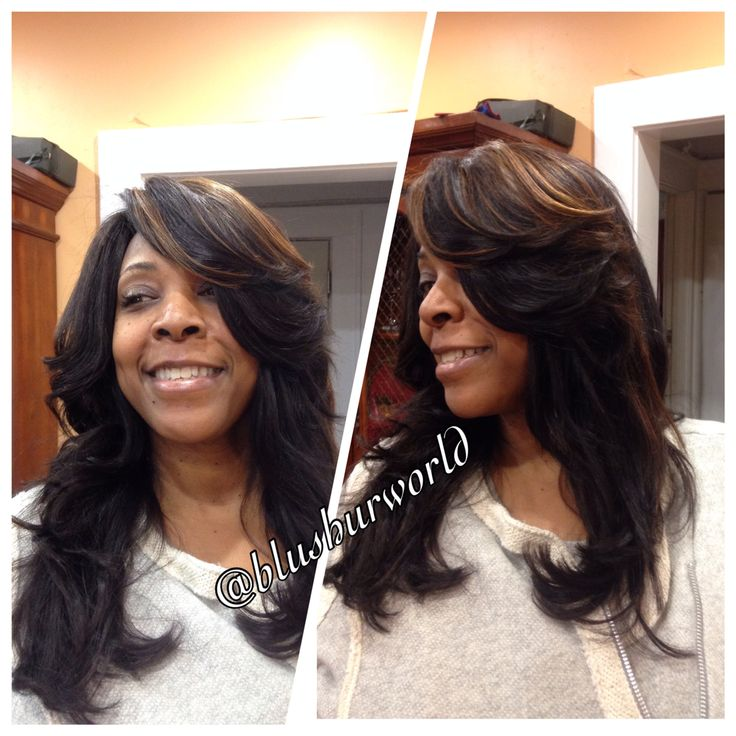 Full-head sew-in weave hairstyle