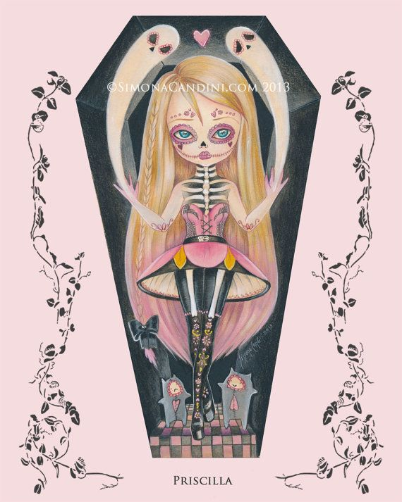 Priscilla à tirage limité signé numéroté Simona Candini jour de lowbrow fantastique de l'art gothique cercueil de sucre morts crâne fille grands yeux