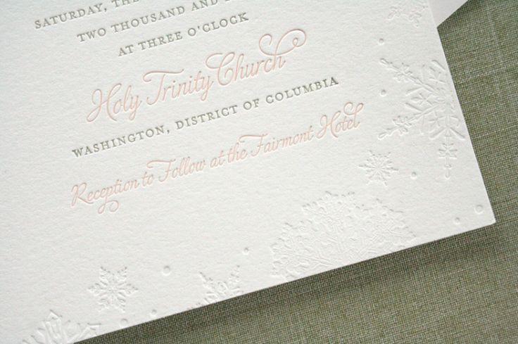 Pink Gray Letterpress Winter Snowflake Wedding Invitation Detail 500x333 Charlotte + Eriks Winter Snowflake Wedding Invitations