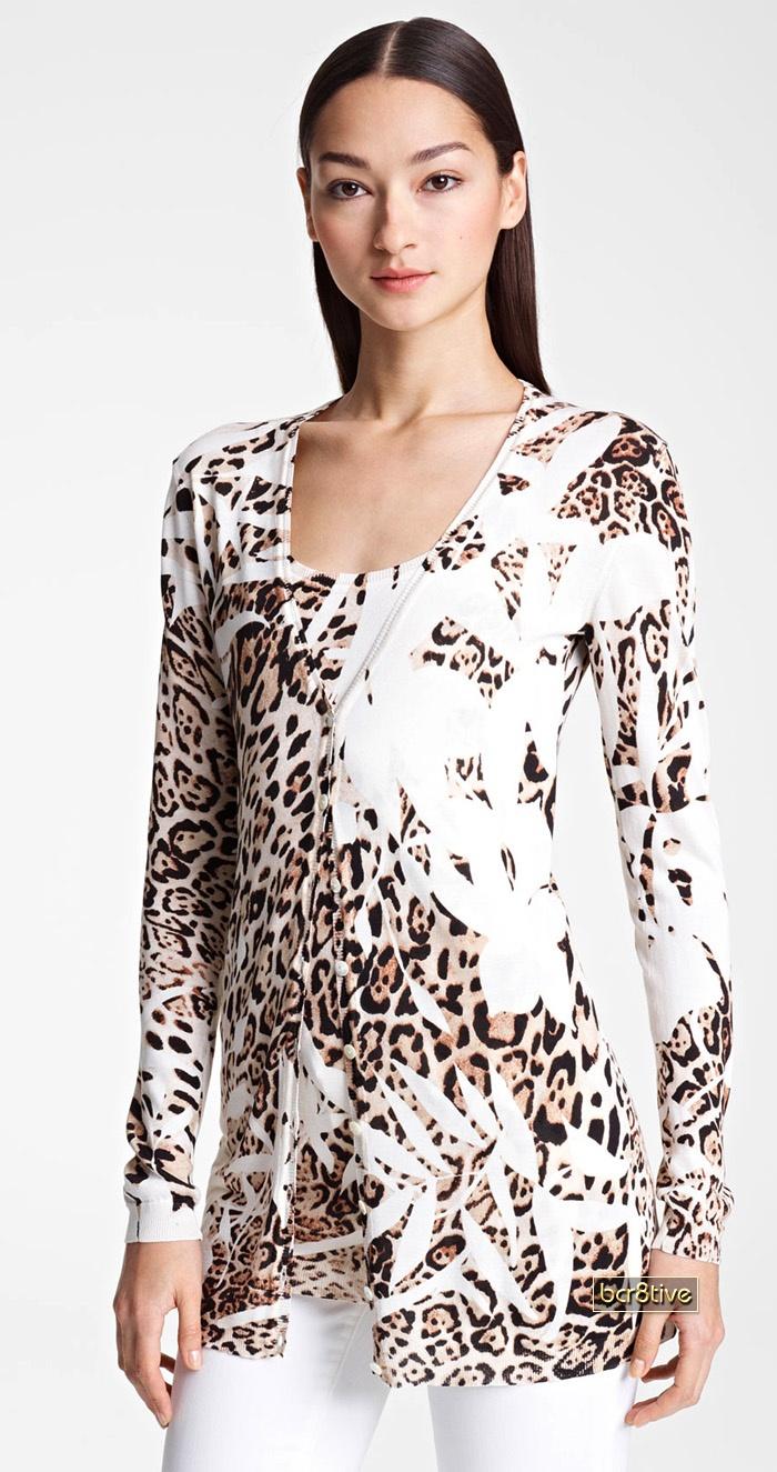 Blumarine Animal Print Knit Silk Cardigan & Silk Tank