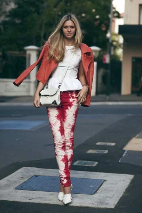 tie-dye~: Ties Dyes Pants, Peplum Tops, Red Jeans, Jessica Stein, Sequences, Leather Jackets, Isabel Marant, Alexander Wang, Red Pants