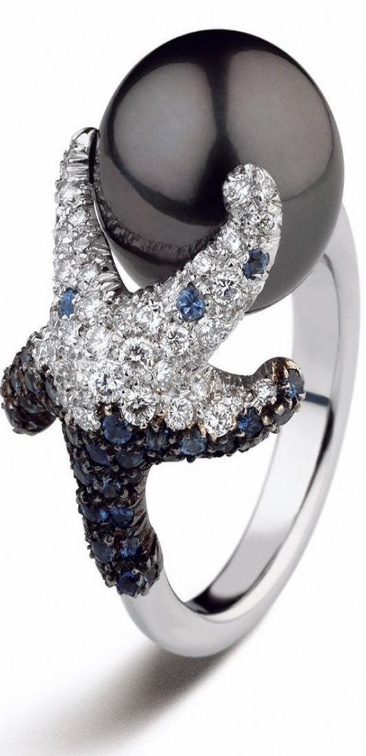 Mikimoto - Black South Sea Cultured Pearl & Starfish Ring