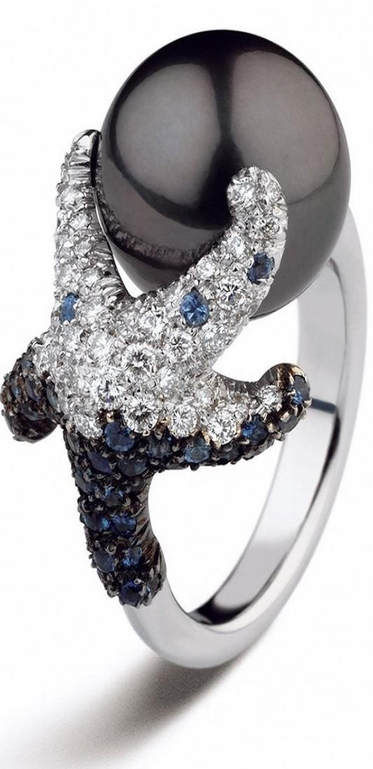 Mikimoto 12mm Black South Sea cultured pearl with diamonds and sapphires