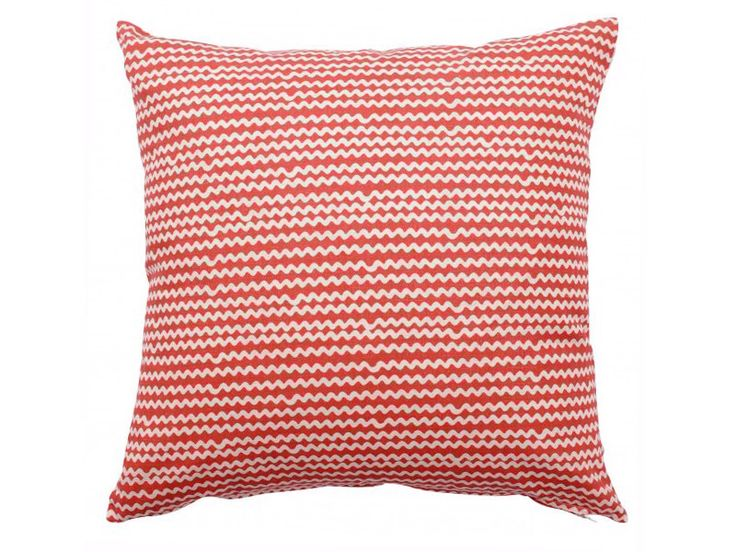 Contemporary Scandinavian Cushion made from Spira of Sweden Fabric - Mello Coral - geometric wavy coral red and white print by OurGreenRoomDesign on Etsy https://www.etsy.com/listing/198825577/contemporary-scandinavian-cushion-made