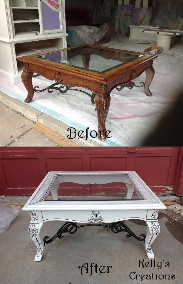 Claw foot coffee table with glass top painted white with black antiquing glaze before and after pictures. Refinished by Kelly's Creations.  https://www.facebook.com/pages/Kellys-Creations-Refinished-Furniture/524028237619793