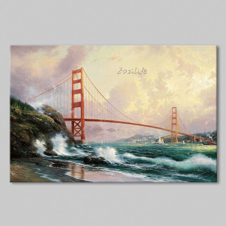 Find More Painting & Calligraphy Information about Framed Thomas Kinkade Oil Paintings Golden Gate Bridge San Francisco Art Decor Painting Print Giclee Art Print On Canvas,High Quality canvas oil painting,China canvas art oil painting Suppliers, Cheap canvas painting tips from Eazilife Oil Painting on Aliexpress.com
