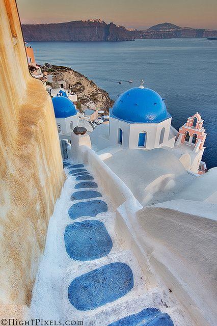 watch your blue step, Santorini, Greece: Santorini Greece, Buckets Lists, Dreams Vacations, Blue, Beautiful Places, Places I D, Islands, Honeymoons, Travel Lists