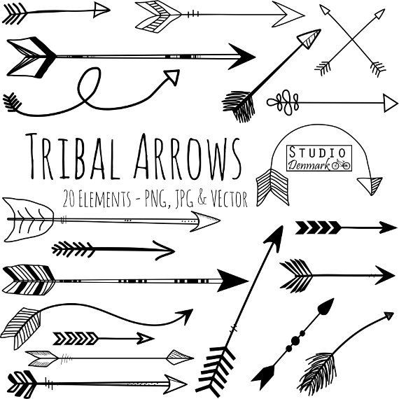 Tribal Arrow Clipart and Vectors - Hand Drawn Arrow Clip Art - Aztec Doodle Arrows Commercial and Personal Use Instant Download