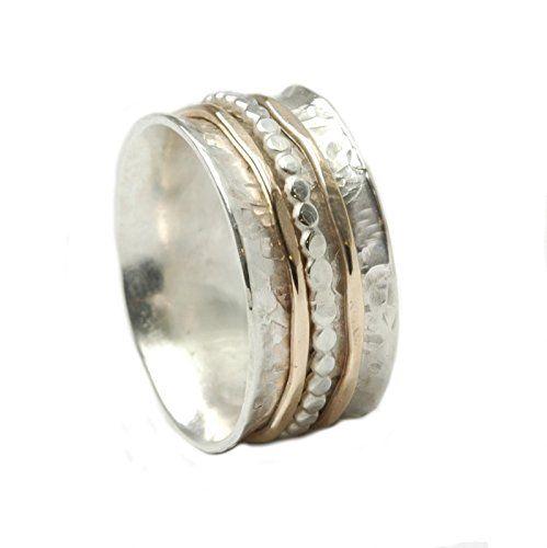 Tiljon Bicolor Ring 925er Silber mit drehbaren Schienen aus Silber und 375er Gold, ca. 0,8 cm breit Ringgröße 50 (15.9)