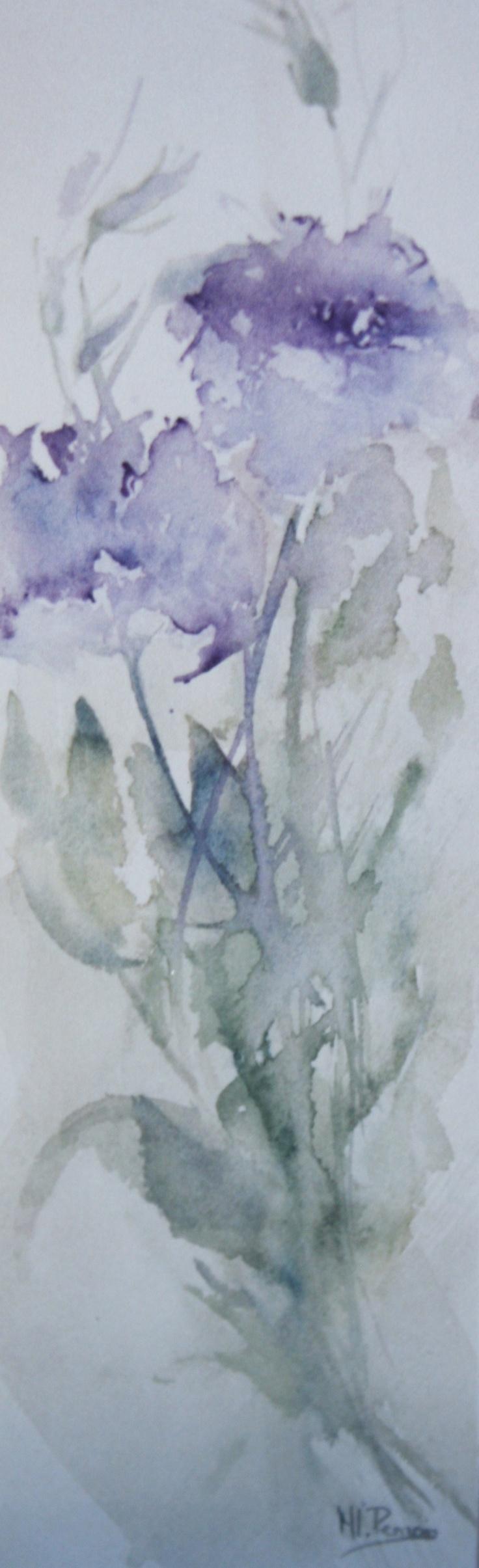 Violet flowers / Flores violetas - Watercolour / Acuarela