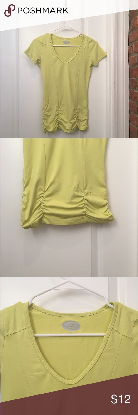 Anthropologie Pure + Good Workout Top From Anthropologie's exclusive workout line, Pure + Good. V-neck, cinched waist, stretchy, in a peppy lemon-lime color. Perfect for hiking, running, and yoga, but also for a casual top. Extremely soft and comfortable. Anthropologie Tops Tees - Short Sleeve