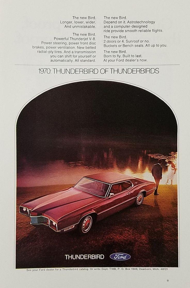 1970 Ford Thunderbird Vintage Ad - Man Woman Lake Sunset