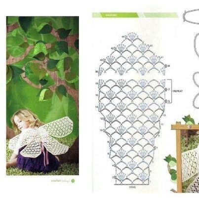 Crocheted wings: Charts, Crochet Wings