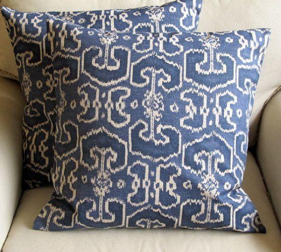 Ikat BENGALI Indian Blue  pillows 20x20 PAIR With by yiayias, $100.00