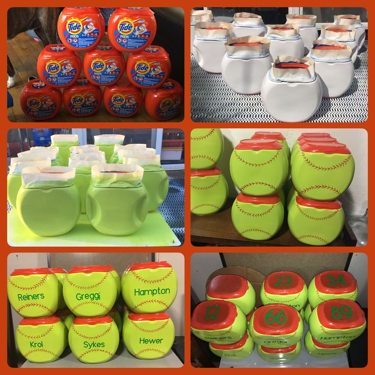 Special goodie pods for the team • tide pod containers • primer and spray paint • red sharpie marker • crucut machine/vinyl
