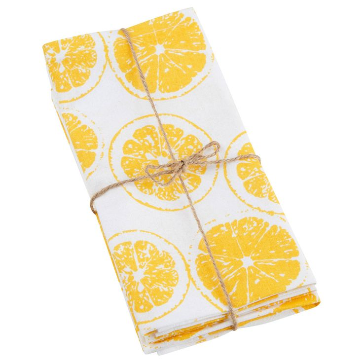 You'll set your table in comfort and style when you've got cloth napkins to offer your dining guests. This set of four fabric napkins is made of 100% cotton so they're soft, durable and long lasting. Featuring a fun print, they'll be a welcoming touch at all your gatherings. Machine washable, just toss them in the washer at the end of your meal.