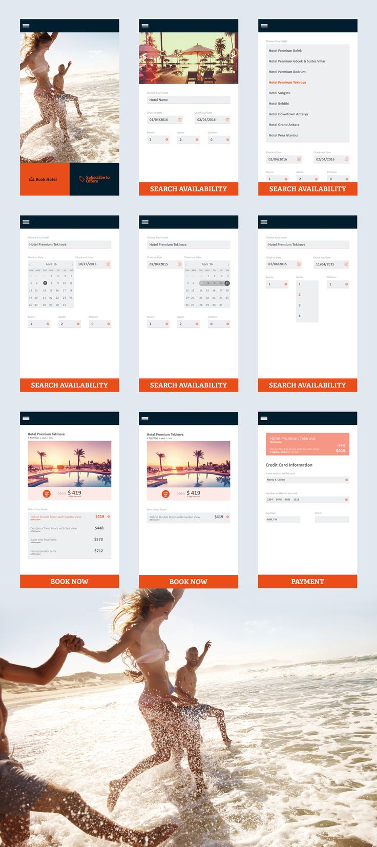 Hotel Reservation App Design #Mobile #Design #Flat #Travel #Booking #Payment #Calender #SearchBox