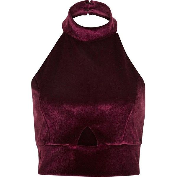 River Island Dark red velvet halter neck crop top ($24) ❤ liked on Polyvore featuring tops, crop tops, shirts, tank tops, sale, cropped shirts, purple crop top, sleeveless crop top, fitted shirts and cutout tops